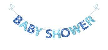 Empavesado festivo lindo del vintage para la fiesta de bienvenida al bebé con las letras hermosas del brillo ilustración del vector