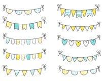 Empavesados azules y amarillos del verano Fotografía de archivo libre de regalías