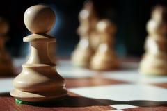 Empeño aislado del ajedrez en luz del sol fotografía de archivo