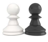 Empeños del ajedrez aislados en blanco Imágenes de archivo libres de regalías