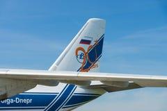 Empennagen av transportstrålflygplanet Antonov An-124 Ruslan Arkivfoto