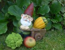 Empequeñezca con la carretilla, la calabaza, el bróculi y una manzana Imágenes de archivo libres de regalías