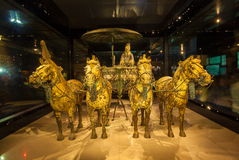 Emper Qin's Terra-cotta warriors and horses Museum. The picture shows painted bronze car and horses Royalty Free Stock Photos