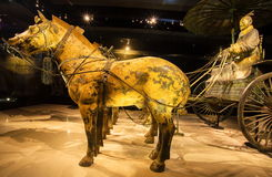 Emper Qin's Terra-cotta warriors and horses Museum. The picture shows painted bronze car and horses Stock Photography
