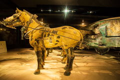 Emper Qin's Terra-cotta warriors and horses Museum. The picture shows painted bronze car and horses Royalty Free Stock Photo