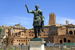The Emperor Caesar the forum of Trajan. The monument to the great Emperor Julius Caesar the forum of Trajan Stock Photo