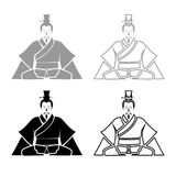 Emperor of China iconset grey black color Illustration. Emperor of China iconset grey black color vector Illustration stock illustration