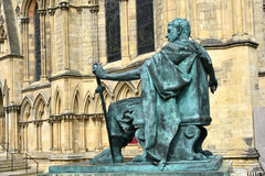 Emperor Constantine. Bronze statue of Constantine,in front of York Minster in England Royalty Free Stock Photos