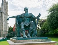 Emperor Constantine in bronze at York cathedral. Where he was proclaimed in 306 ad Royalty Free Stock Photos