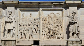 Emperor Constantine meets the roman soldiers Stock Images
