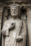 Emperor Constantine. Notre Dame Cathedral, Paris, Portal of the Virgin Royalty Free Stock Photos