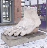 Emperor Constantine`s foot - a copy of the preserved ancient wor. Trier,Germany- January 03, 2016: Emperor Constantine`s foot - a copy of the preserved ancient Royalty Free Stock Photography