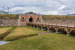 Emperor gates and wooden bridge in Daugavpils fortress Royalty Free Stock Images