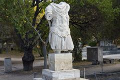 Emperor hadrian statue. Inside ancient agora Royalty Free Stock Images