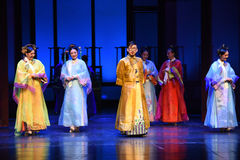 The emperor and his concubines-Opening the first act-Modern drama Empresses in the Palace Royalty Free Stock Images