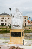 Emperor Justinian statue in downtown of Skopje Stock Photography