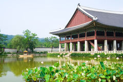 Emperor palace in Seoul. Lake and boat Stock Images