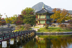 Emperor palace at Seoul. South Korea. Lake. Mountain. Reflection. S on lake. Autumn time Stock Images