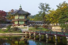 Emperor palace at Seoul. South Korea. Lake. Mountain. Reflection. S on lake. Autumn time Royalty Free Stock Photo