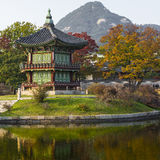 Emperor palace at Seoul. South Korea. Lake. Mountain. Reflection Royalty Free Stock Photos