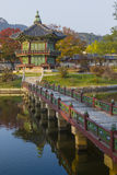 Emperor palace at Seoul. South Korea. Lake. Mountain. Reflection Royalty Free Stock Images