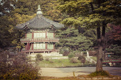 Emperor palace at Seoul. South Korea. Lake. Mountain. Reflection. S on lake. Autumn time Stock Image