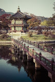 Emperor palace at Seoul. South Korea. Lake. Mountain. Reflection. S on lake. Autumn time Stock Photo