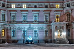 Emperor Paul I Sculpture. St.Petersburg. Russia. SAINT - PETERSBURG, RUSSIA - JANUARY 24, 2018: The sculpture of Russian Emperor Paul I in the yard of Saint stock photography