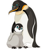 Emperor Penguin With Chick. An adult Emperor Penguin with its chick vector illustration