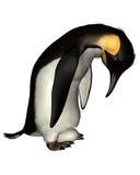 Emperor Penguin with Egg. Emperor Penguin holding an egg on its feet, 3d digitally rendered illustration vector illustration