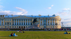 Emperor Peter the Great - The Bronze Horseman. Summer evening on the square in front of the Senate and Synod. Saint-Petersburg, Russia Stock Images
