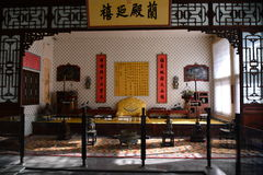The emperor`s bedroom. This is the Qing emperor`s bedroom, located in Beijing the Imperial Palace, preserved integrity, interior decoration is extremely Royalty Free Stock Image