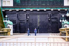 Emperor`s royal guards changing at the Imperial Palace in Tokyo royalty free stock images