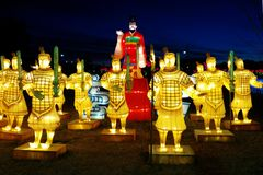 Emperor and terracotta soldiers at Chinese lantern festival royalty free stock photos