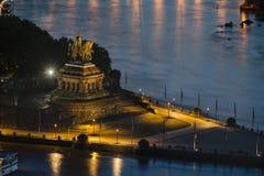 Emperor William I Statue At Koblenz Deutsches Eck At Night Royalty Free Stock Photos