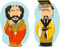Emperors Yellow and Yan. Yellow Emperor and Yandi Chinese Emperors,  illustration cartoon Royalty Free Stock Photos