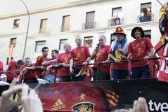 Empfangen des nationalen Fußball-Teams von Spanien im Weltcup Südafrika 2010. Lizenzfreies Stockfoto