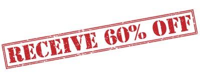 Empfangen Sie 60 Prozent heruntergesetzt Stempel auf weißem Hintergrund Lizenzfreie Stockfotos