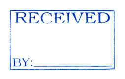 Empfangenes Datum: Stempel-Druck getrennt auf Whit Lizenzfreies Stockfoto