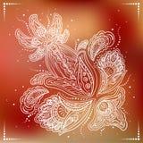 Empfindliche ausführliche Blume auf rotem Hintergrund lizenzfreie abbildung