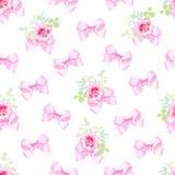 Empfindliche Bögen und nahtloser Vektor der kleinen rosafarbenen Blumensträuße drucken Stockfoto