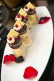 Empfindliche Creme mit Schokolade und roter Johannisbeere Stockfotografie
