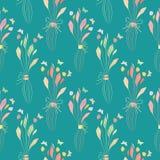 Empfindliche Pastellfarbhandgezogene Blumensträuße mit Schmetterlingen Nahtloses halbes Tropfenvektormuster auf Türkis stock abbildung
