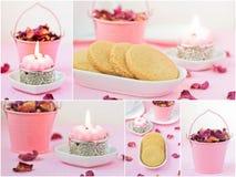 Empfindliche rosa Collage mit Keks. Lizenzfreie Stockfotografie