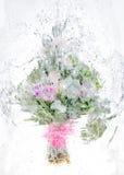 Empfindlicher Blumenstrauß von Blumen im Eis Stockfoto