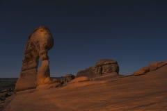 Empfindlicher Bogen nachts, Moab Utah Stockbilder