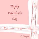 Empfindlicher Grußkarte glücklicher Valentinstag Lizenzfreies Stockfoto