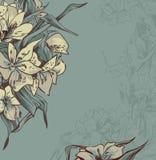 Empfindlicher Hintergrund mit grau-blauen Blumen Lizenzfreies Stockbild