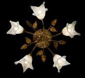Empfindlicher Leuchter von den Blumenlampen lokalisiert auf Schwarzem Lizenzfreie Stockbilder