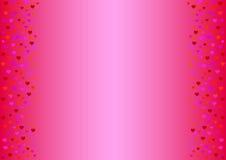 empfindlicher rosa Hintergrund mit Herzen in den Schatten des Rotes Stockbild